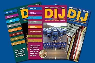Image showing three recent issues of the door industry journal